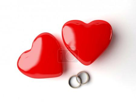 3d wedding rings and heart