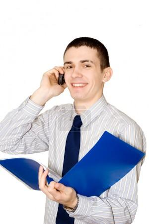 The young man speaks to phone