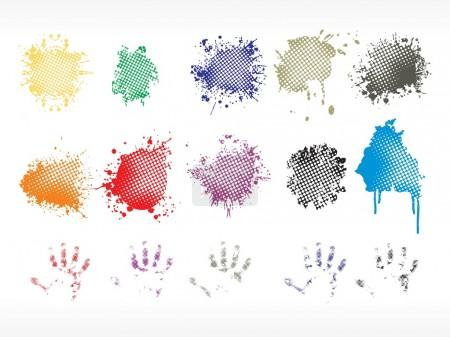Colorful grunge spot, hand print