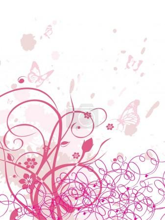 Grungy background with swirls, butterfly