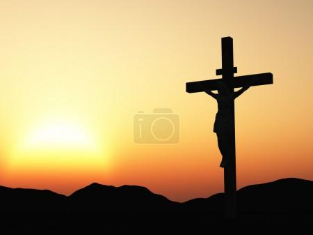 Crucifixion and sunset