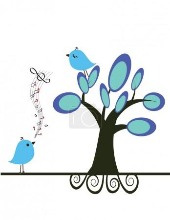Birds in love on the tree.