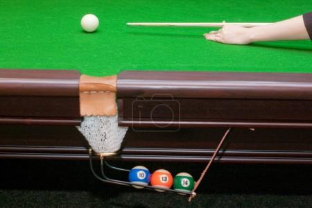 Pool table with balls in pocket