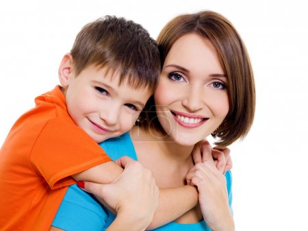Appy cheerful mother with little son