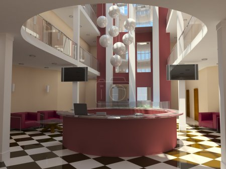moderne Hotellobby mit roter Rezeption