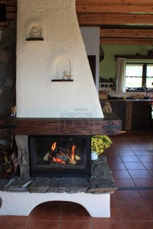 Fireplace in the old house
