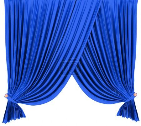 Blue theater curtain isolated on white