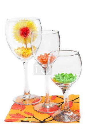 Three glasses with colour sweetmeat