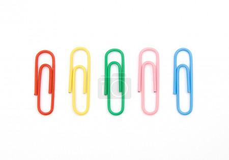 Five color paperclips