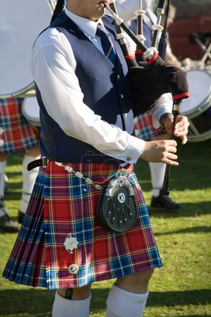 Scottish bagpiper at Pitlochry Highland Games