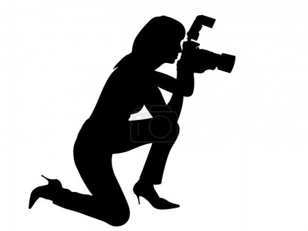 Woman silhouette with camera