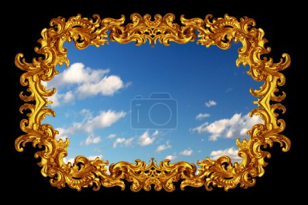 Gold frame with blue sky