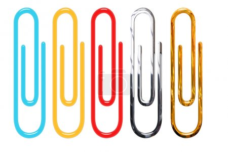 Paper clips isolated over white