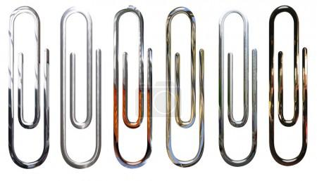 Metallic, chrome, silver paperclips