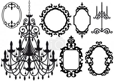 Old chandelier and picture frames