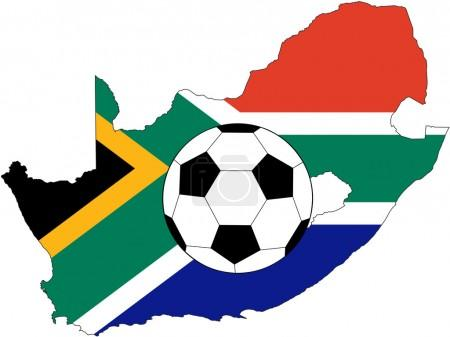 Vector of soccer ball with flag of South
