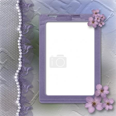 Lilac frame for photo with pearls