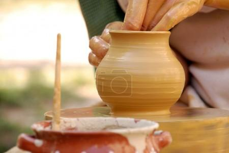 Hand made pottery being manufactured