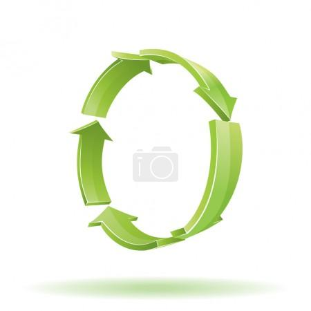 3D Arrows. Recycle symbol. Vector colorf