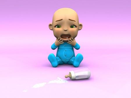 Cute toon baby crying over spilt milk.