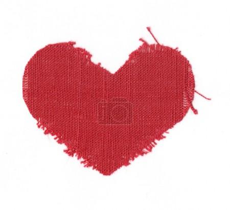 Red linen valentine heart on white backg