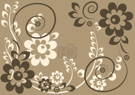 Background with flowers and leaves