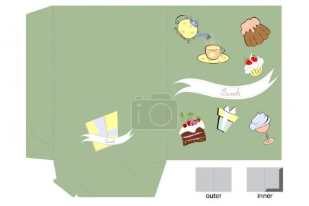 Template for folder with sweets