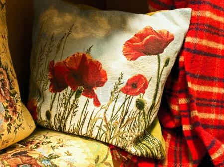 Pillow with poppy