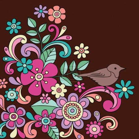 Bird and Flowers Notebook Doodle Vector Illustration
