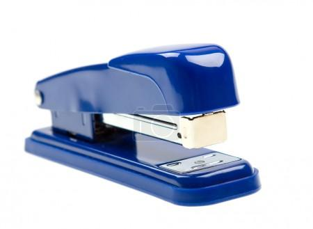 Blue strip stapler on white