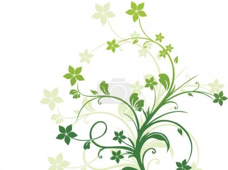 Background with green floral