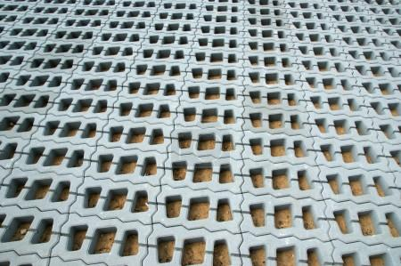 Lawn grid of reinforced concrete structures, can be used as background