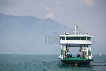 Ferry transporting cars on a lake