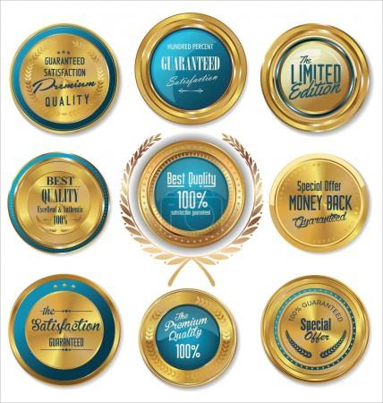 Premium quality blue and gold labels