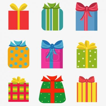 Set of  colorful of different gift  boxes
