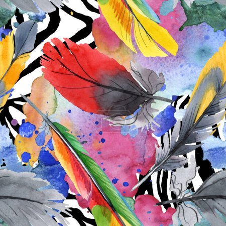 Colorful bird feather from wing isolated. Watercolour drawing fashion aquarelle. Fabric wallpaper print texture.